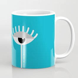 Unamused Eyes | White on Blue Coffee Mug