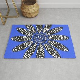 Daisy dot, blue, black, white Rug