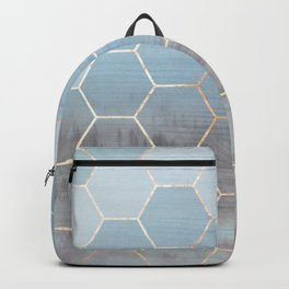 honeycomb winter forest // copper & blue Backpack