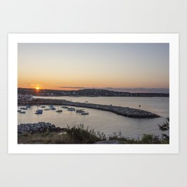 Breakwater in Rockport at sunset Art Print