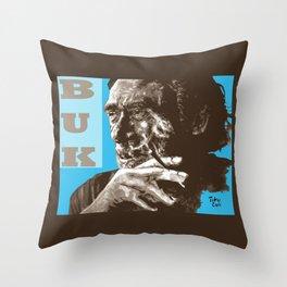 Charles BUKowski - POP-ART - sepia blue Throw Pillow