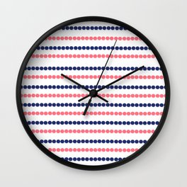 Modern nautical blue coral polka dots stripes pattern Wall Clock