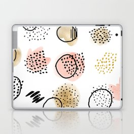 Mid Century Modern Abstract Blush and Gold Pattern I Laptop & iPad Skin