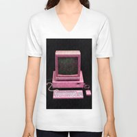 inside gaming V-neck T-shirts featuring Retro Gaming by Cullen Rawlins