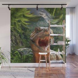 T Rex in Prehistoric Landscape Wall Mural