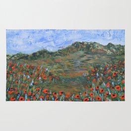 Realm of Poppies, abstract landscape painting, red poppies Rug