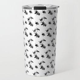 Ink Stroke: Black Floral Travel Mug