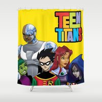 teen titans Shower Curtains featuring Teen Titans by Paige Thulin