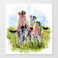 zebra Canvas Prints featuring Zebra by Anna Shell
