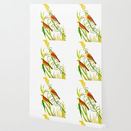Birds & Yellow Flowers Wallpaper