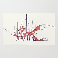 foxes Area & Throw Rugs featuring Foxes by Ale Giorgini