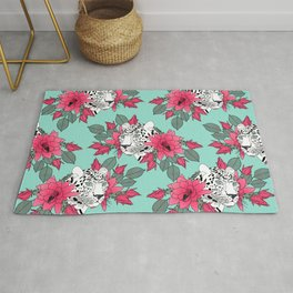 Stylish leopard and cactus flower pattern Rug