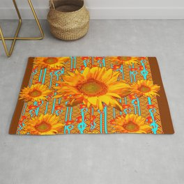 Coffee Brown Sunflower Pattern Orange & Turquoise Rug