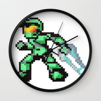 master chief Wall Clocks featuring master chief by Walter Melon