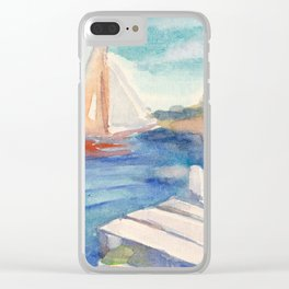 Sailing boat in sea drawing by watercolor Clear iPhone Case