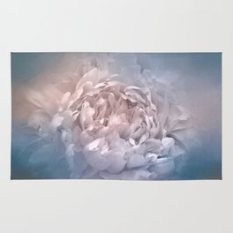 Blushing Blue and Cream Peony - Floral Rug