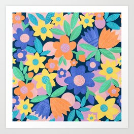 Spring Mod Flowers Pattern Art Print