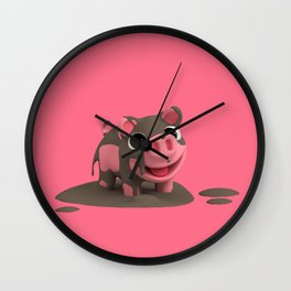 Rosa the Pig loves the Mud Wall Clock
