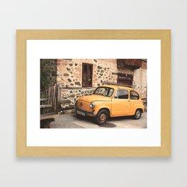 Yellow car vintage Framed Art Print