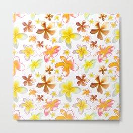 Pink and Yellow Frangipani Flowers Metal Print