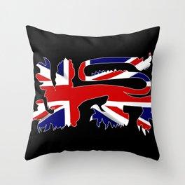 British Lion Silhouette On Union Jack Flag Throw Pillow