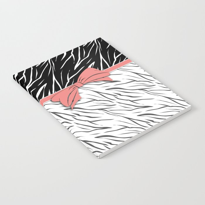 Black and white tiger pattern with pink bow. Notebook