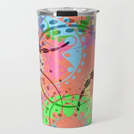 Texture of pastel gears and laurel wreaths in kaleidoscopic pink style. Travel Mug