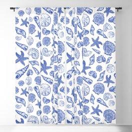 Blue Seashell Print Blackout Curtain