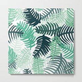 Palm tree beach love summer leaves pattern Metal Print