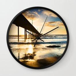 Ocean Beach Pier Silhouette Wall Clock