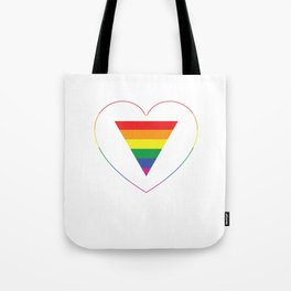 Gay Pride LGBT Rainbow Triangle in Heart Tote Bag