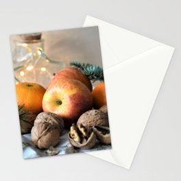 Images New year Mandarine Apples Food Nuts Still-l Stationery Cards