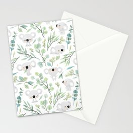 Koala and Eucalyptus Pattern Stationery Cards