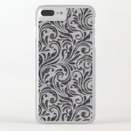 Leaf Scroll Brown/Gray Clear iPhone Case