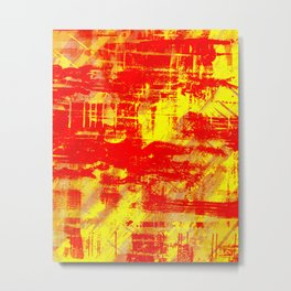 Sunburn - Abstract, yellow, red and orange, textured oil painting Metal Print