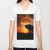 dragon V-neck T-shirts featuring Firey Dragon  by Chris' Landscape Images & Designs