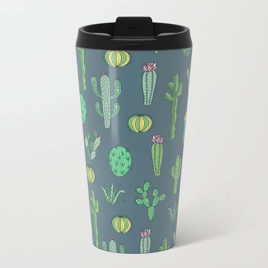 Cactus Pattern II Metal Travel Mug
