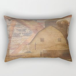 Americana Home Decor Rustic Art Print Barn Flag Wagon Wheel Art A642 Rectangular Pillow