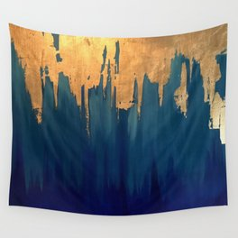 Gold Leaf & Blue Abstract Wall Tapestry