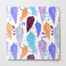 Watercolor Macrame Feathers + Dots in Lilac Rainbow Metal Print