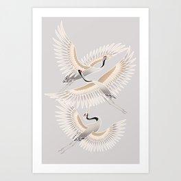 traditional Japanese cranes bright illustration Art Print