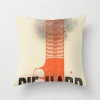 die hard Throw Pillows featuring Die Hard by Wharton