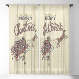Pugs Christmas Sheer Curtain