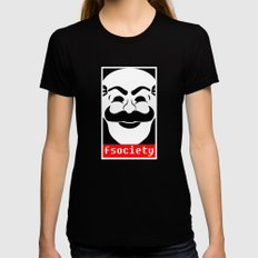 fsociety MEDIUM Black Womens Fitted Tee