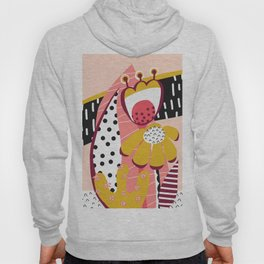 Collage Flowers pink, gold, white, black Hoody