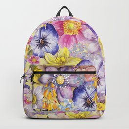 Painterly Vintage Spring Flowers Pattern - Springflower floral Backpack