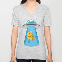 Alien Cat UFO ufology Kitty Flying Saucer Gift Unisex V-Neck