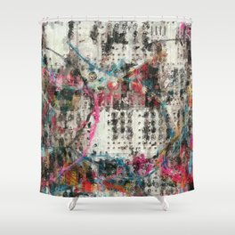 Analog Synthesizer, Abstract painting / illustration Shower Curtain
