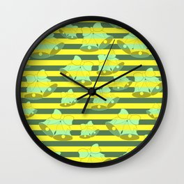 Christmas bells and stripes Wall Clock