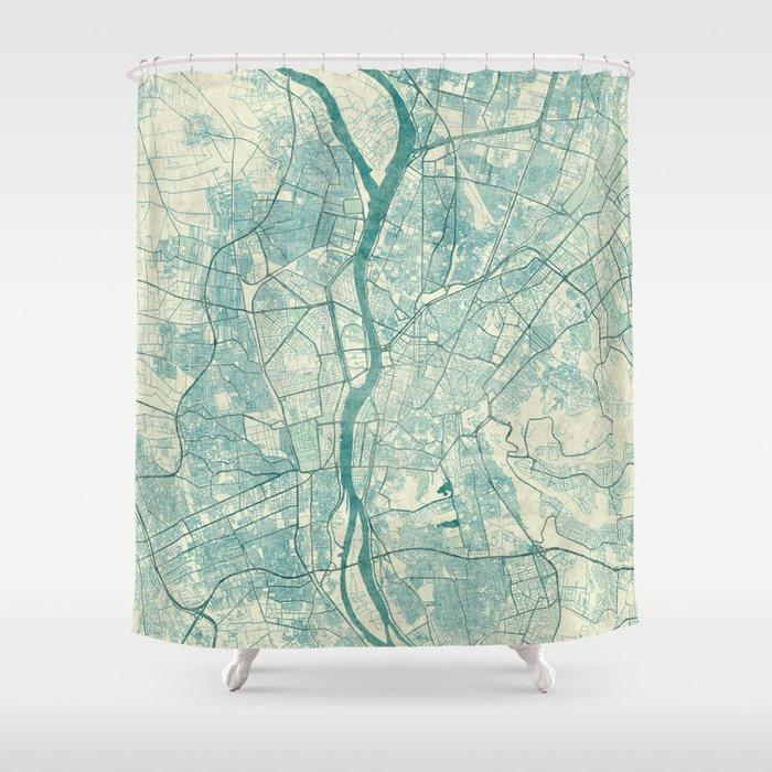Cairo Map Blue Vintage Shower Curtain by hubertroguski   Society6